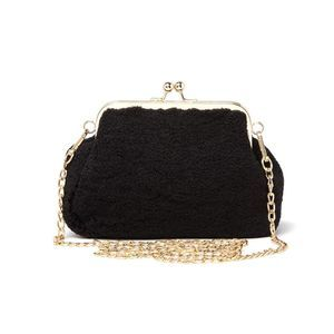 Pink Haley Teddy Textured Crossbody Clutch Black